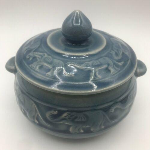 "Baan Celadon Thailand Blue Elephant Design Ceramic Covered Dish 6"" wide"