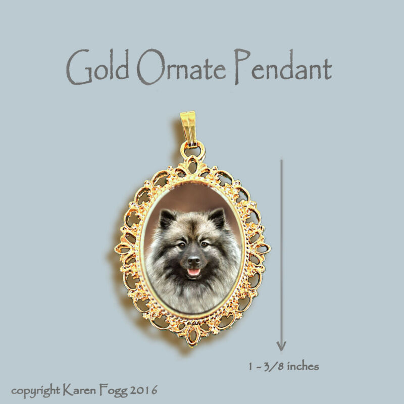 KEESHOND DOG - ORNATE GOLD PENDANT NECKLACE