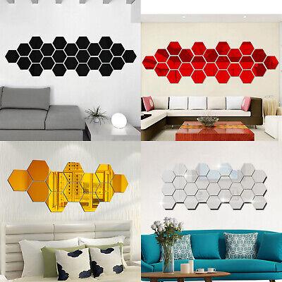 12 x Adesivo Murale 3D Mini Esagono Adesivi Murali Specchio Acrilico Arte DIY