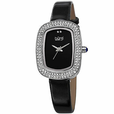 New Women's Burgi BUR111SSB Swiss Quartz Swarovski Crystal Black Strap Watch