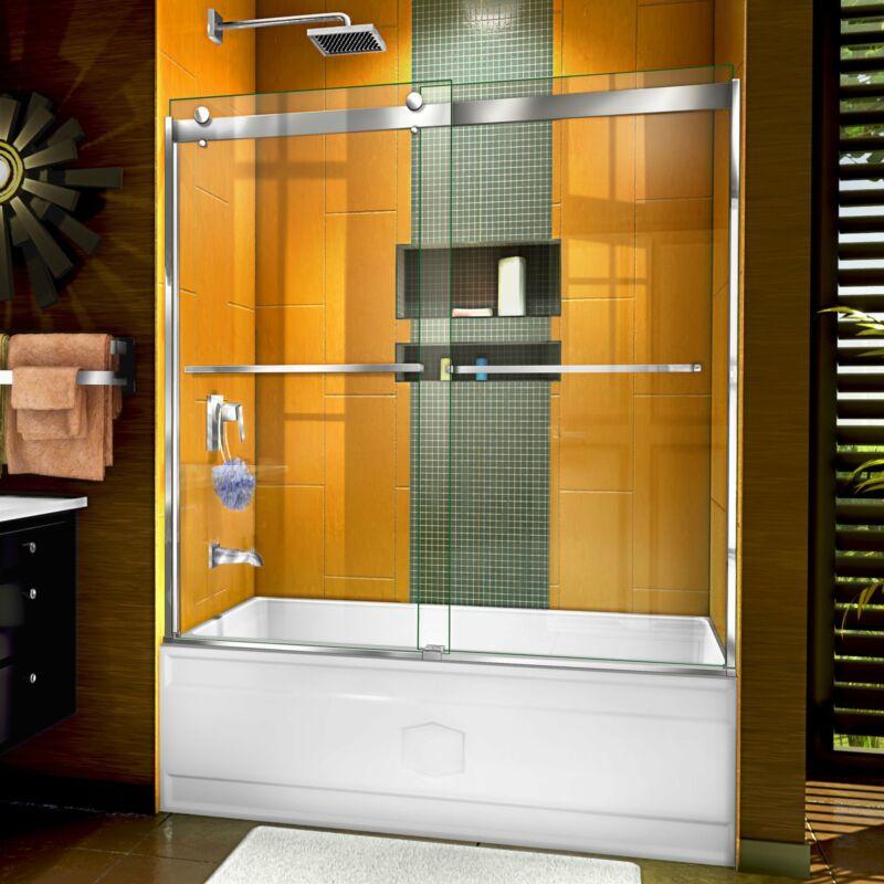 """DreamLine SHDR-6360602-01 Sapphire 56-60"""" Semi-Frameless Bypass Tub Door, Chrome"""