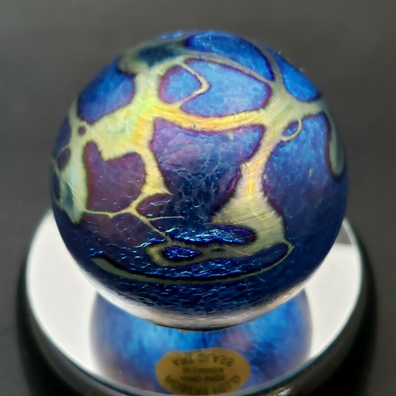 "Robert Held Art Glass Paperweight Iridescent Abstract Blue 2.25"" Canada Signed"
