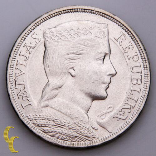 1929 Latvia 5 Lati Coin (BU) Brilliant Uncirculated Condition