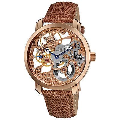 New Men's Akribos XXIV AK406RG Rose-tone 'Davinci' Mechanical Leather Watch