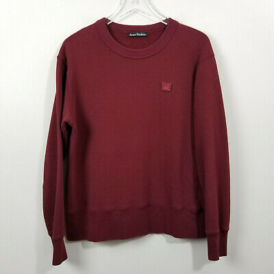 Acne Studios Burgundy Red Ferris Face PAW17 Emoji Sweater Jumper Sz Medium