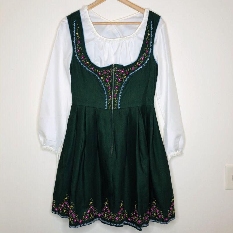 Vintage Embroidered Dirndl Dress Lederhosen Oktoberfest Green Floral Women Small