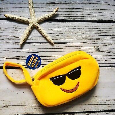 Cool Emoji Fuzzy Wristlet COSMETIC MAKEUP Bag Pencil Pouch - Cool Pencils
