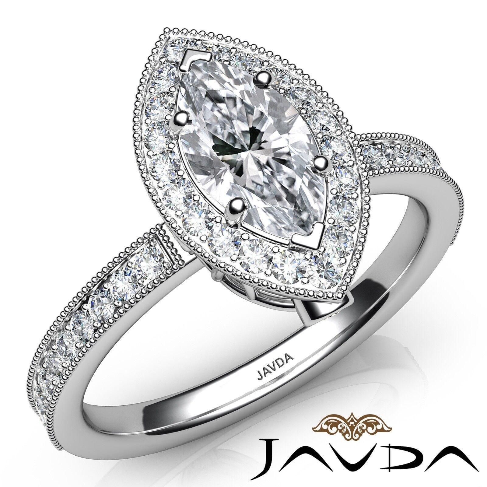 1ctw Milgrain Halo Pave Set Marquise Diamond Engagement Ring GIA E-IF White Gold