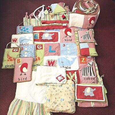 Baby Crib Bedding Nursery Set Boy Girl Cocalo Alphabet Soup ABC's Animals Stripe Stripes Crib Baby Bedding
