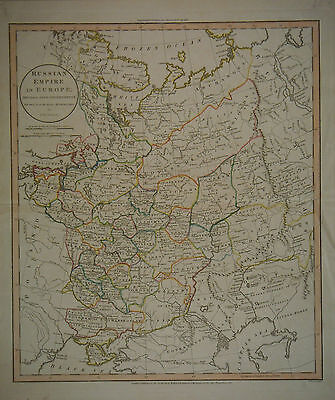 1811 Genuine Antique Hand Colored Map Russian Empire in Europe . Guthrie