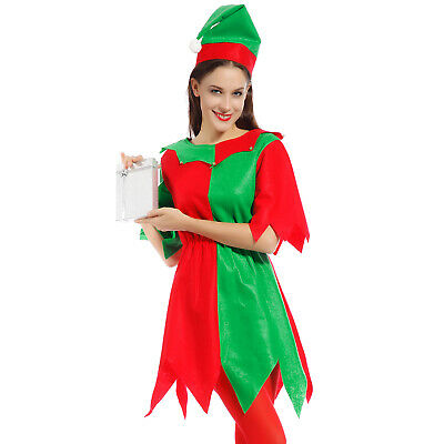 Fee Elfe Kostüm Santa's Klein Helper Damen Weihnachten Xmas Fancy Dress - Santa's Elfen Kostüm