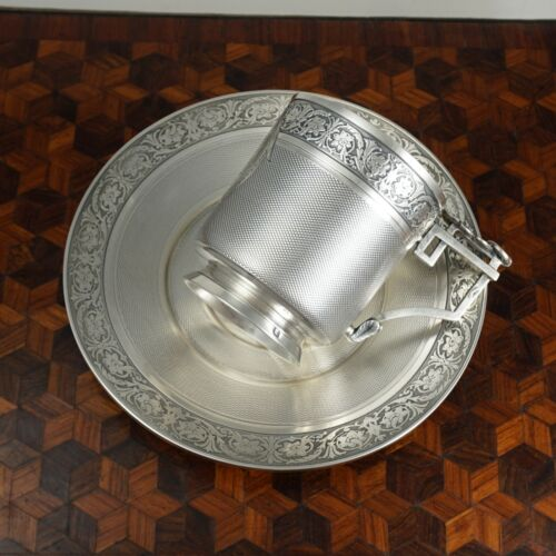 Antique French Sterling Silver Cup & Saucer Set, Guilloche Engraving