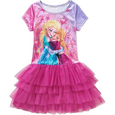 Frozen Dress For Little Girls (Disney Frozen Little Girls' Elsa & Anna Pink Velour Tutu Dress SIZE 7/8 &)