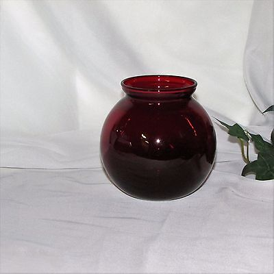 """ANCHOR HOCKING GLASS ROYAL RUBY VASE 4"""" RED ROLY POLY FLORAL VINTAGE HOME DECOR"""