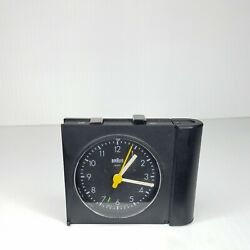 BRAUN Black Alarm Travel Clock 4786/AB313 sl Pocket Light Bauhaus MID Century