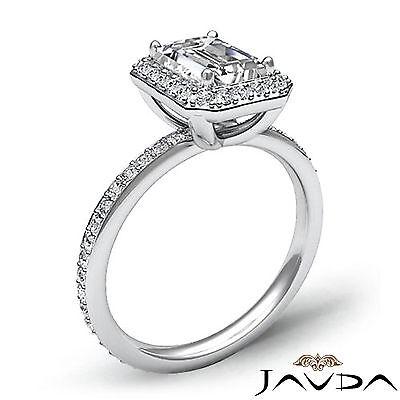 Halo Emerald Diamond Vinatge Engagement Ring GIA Certified H SI1 Platinum 2 ct 1