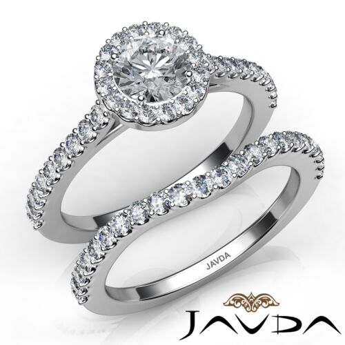 U Cut Round Diamond Bridal Set Engagement Ring GIA E VVS1 14k White Gold 1.5ct