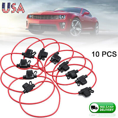 10pcs 14awg Atm Mini Blade Inline Fuse Holder Rv Car Truck Boat Copper Wire Us