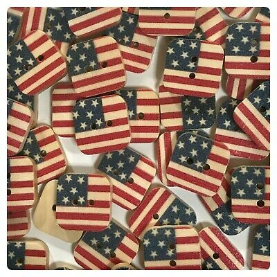 15 or 30 Flag Buttons 15mm Wood Sewing Patriotic USA United States square flag