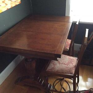 Four seater extendable dining table and four chairs Glen Iris Boroondara Area Preview