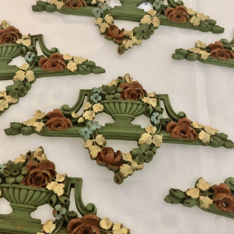 Vintage Resin Appliques - Architectural Embellishment, 1 green/multi set of 6