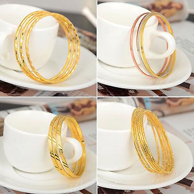 4pcs/set Gold Silver Plated Lovely Children Kid Baby Bangle Bracelet