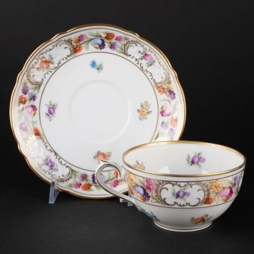 Flat Cup & Saucer   6 Available   Empress Dresden Flowers by Schumann Bavaria