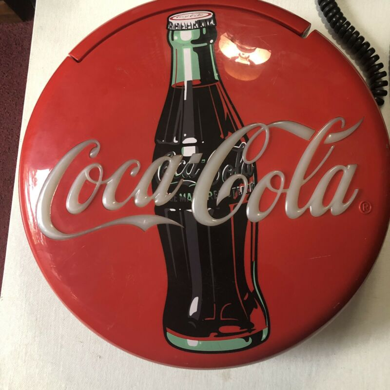 """Coca Cola Coke 12"""" Lighted Round Red Button Sign Telephone Phone Wall/Table Top"""