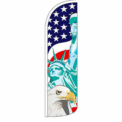 Windless Swooper Feather Flag Tall Banner Sign 3 Wide Statue Of Liberty Eagle