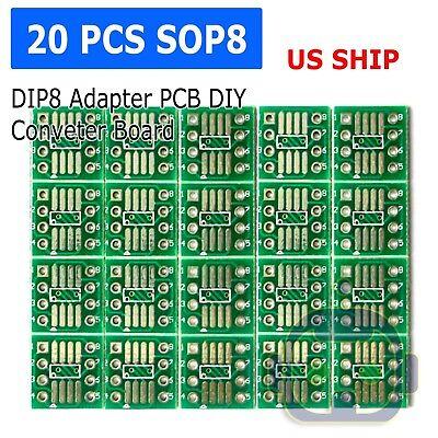 20pcs Sop8 So8 Soic8 Tssop8 Msop8 To Dip8 Adapter Pcb Diy Conveter Board New N65