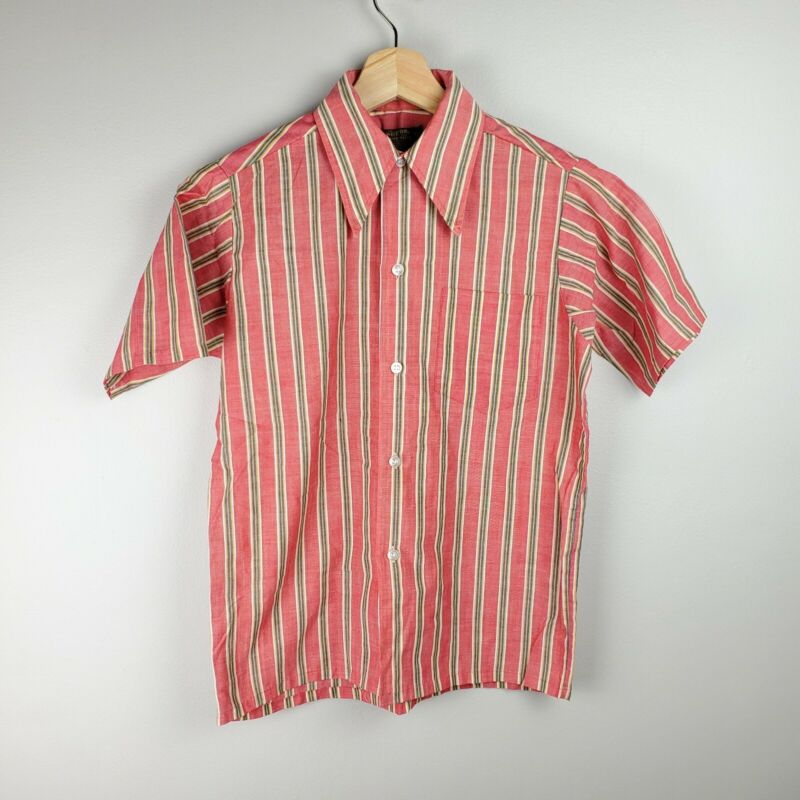 Sears Put On Shop True Vintage 60s 70s Boys Red Striped Button Up Shirt Size 14