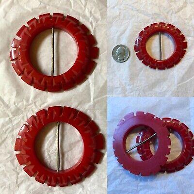 VTG 1930-40' Red Bakelite Belt Buckles . Lot Of 2  Carved  Bakelite Belt Buckels