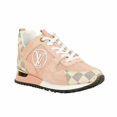 NEW LOUIS VUITTON Pink Damier Azur Suede 'Run Away' Sneakers Shoes 11/42