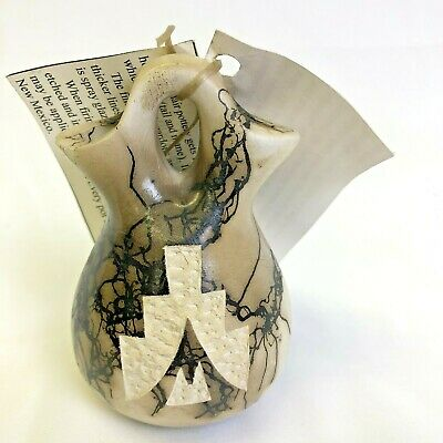 Native American Indian Navajo Horse Hair Pottery Wedding Vase - Vail 5.5""