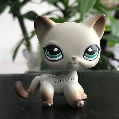 Littlest Pet Shop Lps Short Hair Cat   391 Egyptian Gray Cat Green Eyes Rare
