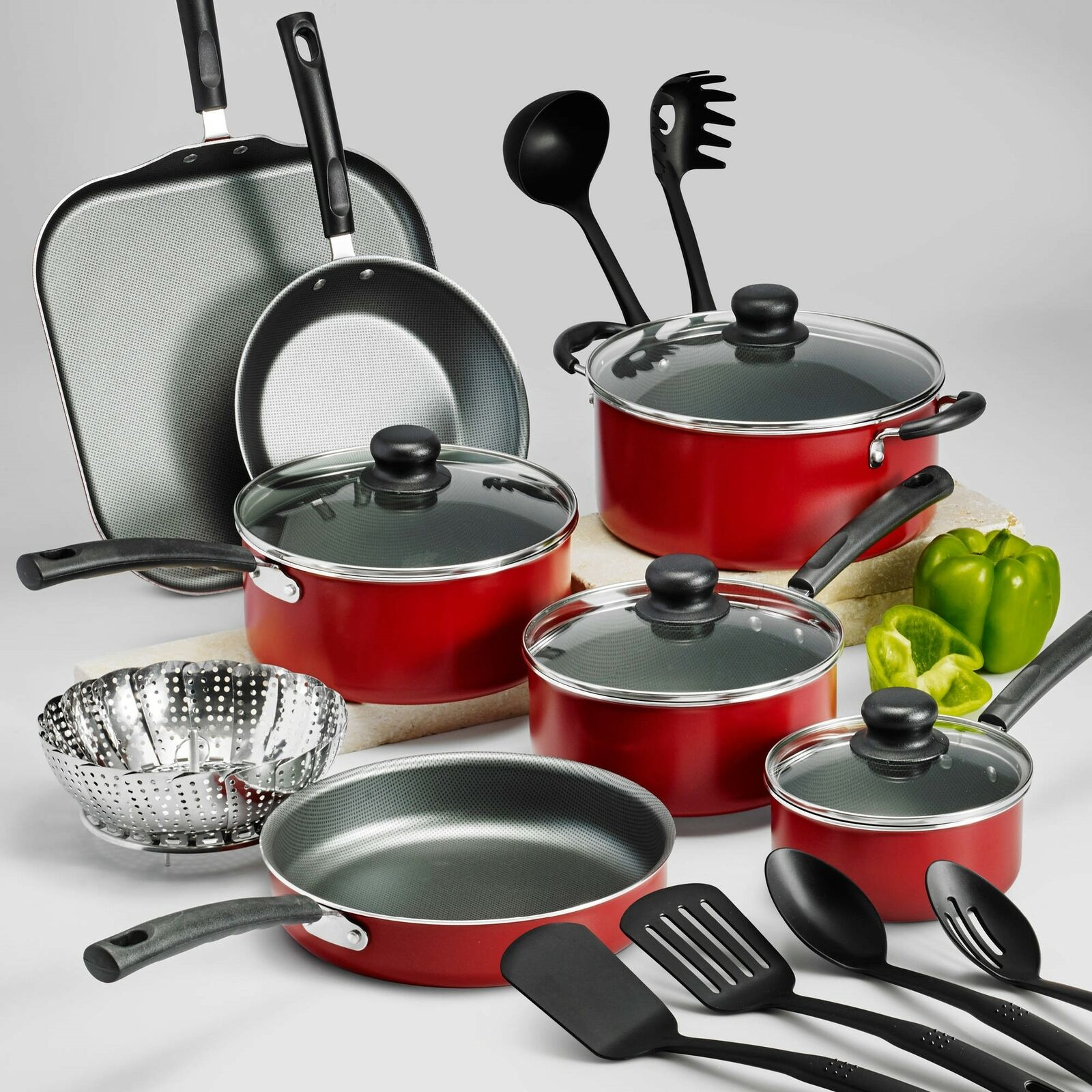 18 Piece Cookware Set Pots Pans Kitchen Cooking Non Stick Home Dinning Cook Red