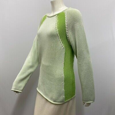 Malo Sweater Lime Green and White Tones Fabulous Style Size 48 Medium M