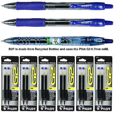 Pilot G2 07 Pen With Refills, 0.7mm Blue Gel Ink, 9 Piece As