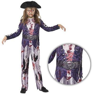 Kinder Mädchen Deluxe Jolly Rotten Zombie Piraten Halloween Kostüm mit Hut