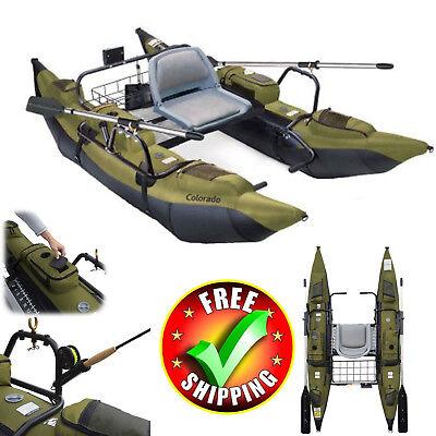 Fishing Kayak 9' Pontoon Boat Inflatable Aluminum Oars Accessories Lake River