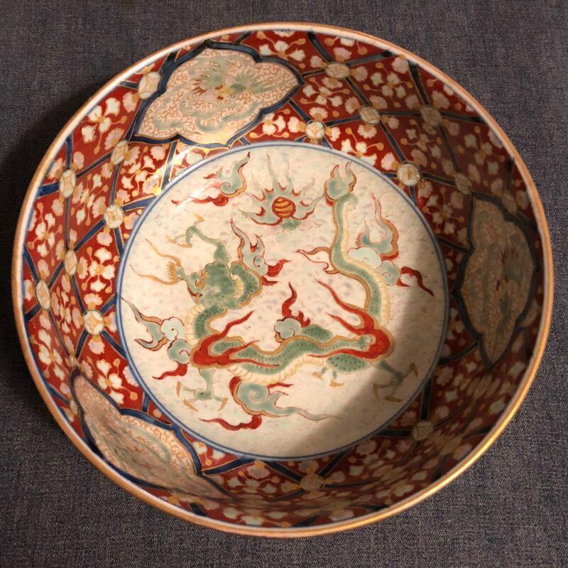 Dragon 🐉 Japanese Imari Ware Bowl Meiji Period Amazing!!