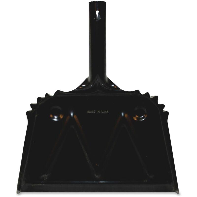 """Genuine Joe Heavy-Duty Metal Dustpan 12"""" Black 58143"""