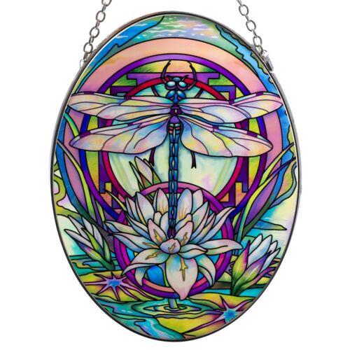 "Mystery Dragonfly Hand Painted Glass Suncatcher By AMIA Studios 7"" x 5"" New"