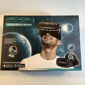 Virtual Reality Headset Arcadia 360 Smartphone VR Android Apple Black, New