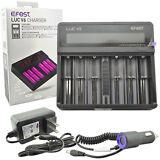 Efest LUC V6 LCD 3.7v 6 Bay 18650 26650 16340 Li-ion Battery Charger+Car Charger