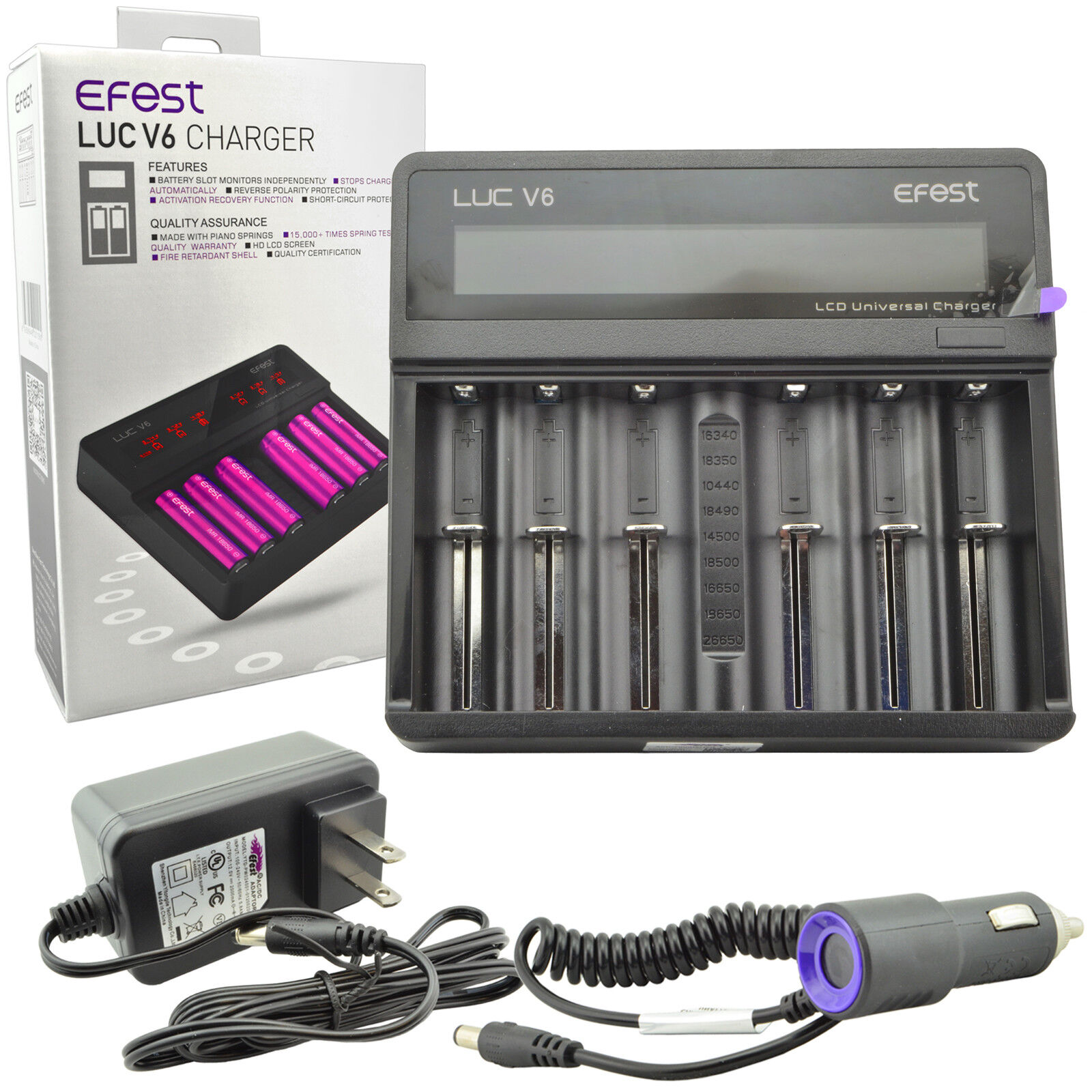 Efest LUC V6 LCD 3.7v 6 Bay 18650 26650 16340 Li-ion Battery Charger+Car Charger