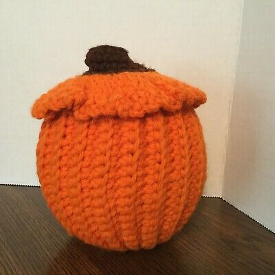 Homemade crocheted pumpkin, 5 inches, Home Decor, Fall Autumn, orange - Halloween Home Decorations Homemade Pumpkins