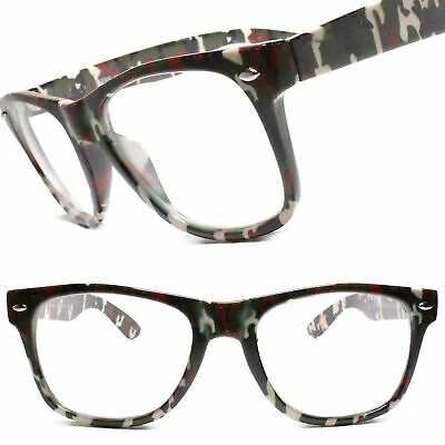 Horn Rimmed 80s Camo Camouflage Temple  Rectangle Clear Lens Eye Glasses (Horn Rimmed Glasses Frames)
