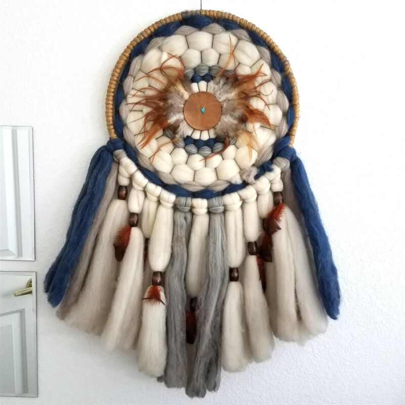 Vintage Native American Dream Catcher Mandala Multi Color Wool Feathers Beads
