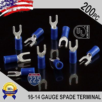 200 Pack 16-14 Gauge Vinyl Spade Fork Crimp Terminals 8 Stud Tin Copper Core Ul
